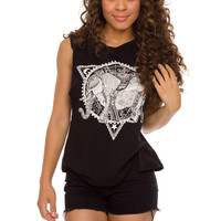 Ariel Elephant Top - Black