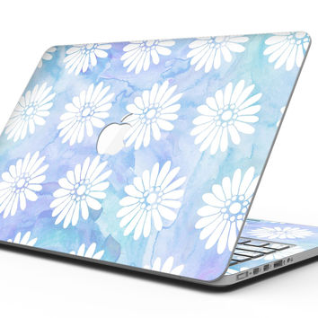 Blue and White Watercolor Flower Print Pattern - MacBook Pro with Retina Display Full-Coverage Skin Kit
