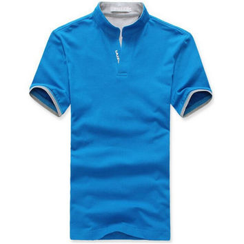 Men Cotton Lapel POLO Shirt V Neck Short Sleeve Shirts Mens Tops Clothes M- 3XL