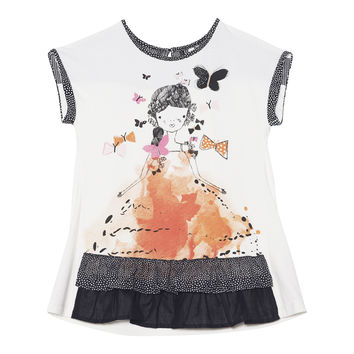 Deux Par Deux Miss Butterfly Printed Short Sleeve Tunic Size 2-12 Years