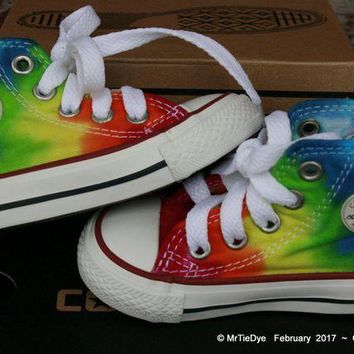 DCCK1IN toddler sz 3 rainbow hand dyed converse hi top sneakers