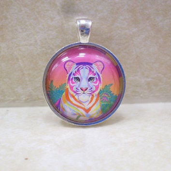 Lisa Frank RAINBOW TIGER Vintage Sticker Circle Pendant Charm Necklace