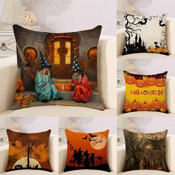 New Halloween Pillowcases Bat Black Cat Cartoon Almofadas 45X45CM Linen Pillow Decorative Linen Pumpkin Lantern Cushion Cover