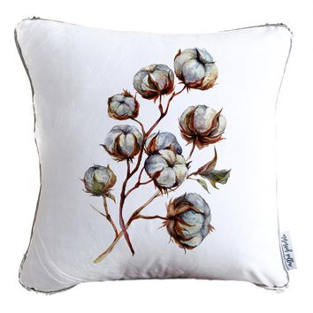 Watercolor Cotton Plant Decorative Throw Velvet Pillow w/ Silver & White Reversible Sequins   COVER ONLY (Inserts Sold Separately)
