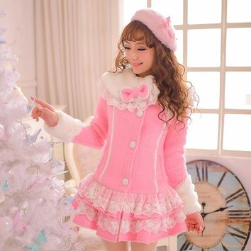 Princess sweet lolita coat Candy rain original winter warm Japanese style Furry collar falbala fake woolen long coat C15CD5882