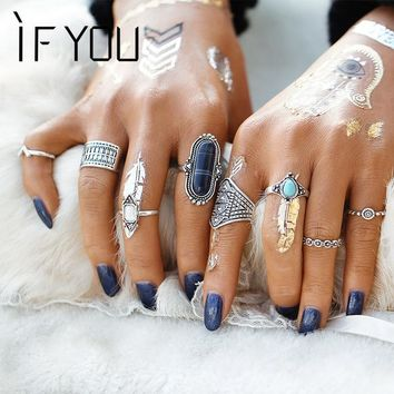 IF YOU Trendy Vintage Fashion Gothic Antique Lucky Stone Finger Midi Ring Set for Women Punk Boho Knuckle Rings For Women Lady