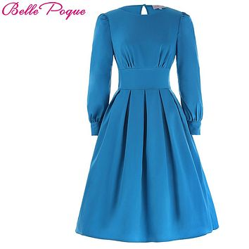 2017 New Vintage Women Autumn Dress Long Sleeves Deep Sky Blue Cute Tunic Clothes Retro 50s Robe Rockabilly Party Ladies Dresses