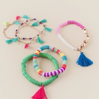 Bali Beaded Tassel Bracelet Set
