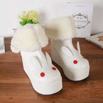 Winter ladies lolita shoes rabbit cosplay shoes women Plus velvet PU wedges heel Boots Princess platform shoes