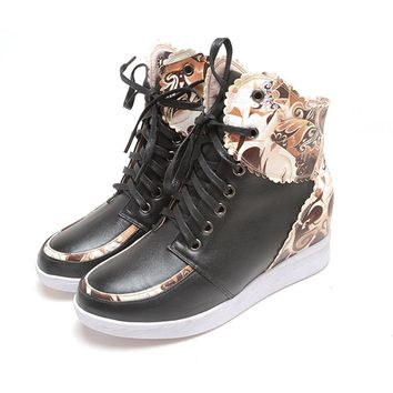 2017 Autumn Women's Casual Cow Leather Shoes Students Within The Increase Shoes Peking Opera Mask Adult Shoes 1512