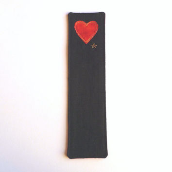 Handmade black fabric bookmark, with red heart on black linen. Lovely Valentine Gift. Custom orders welcome. Made in the UK.
