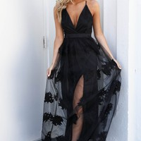 No Question Black Maxi Dress