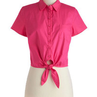 Bettie Page Little Pink Tie Top | Mod Retro Vintage Short Sleeve Shirts | ModCloth.com