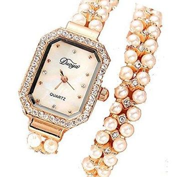 Amazing Pearl , Crystal and Gold Tone Womens Dress Watch and Bracelet