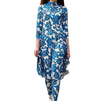 Batik Floral Knit Knee Length Long Sleeve Skater Dress & Tights Set