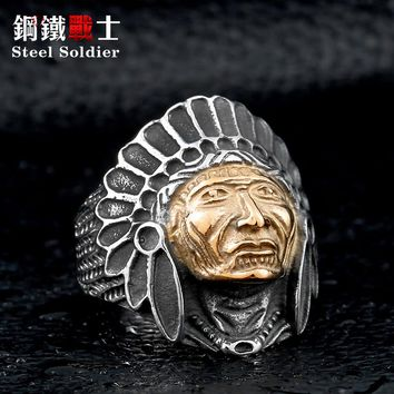 Steel soldier chief indian titanium steel ring cacique indio skull personality punk ring men jewelry findings