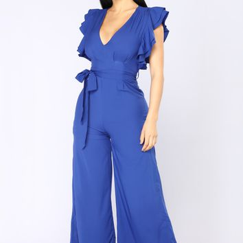 City Of Angels Ruffle Jumpsuit - Royal