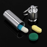 Worldwide Cute Mini Pill Box Case Medicine Bottle Holder Container Keychain Key Chain Organizer Waterproof sale