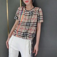 """Burberry"" Women Temperament Casual Fashion rainbow Multicolor Stripe Letter Short Sleeve T-shirt Top Tee"
