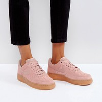 Nike Air Force 1 '07 Trainers In Particle Pink Suede With Gum Sole at asos.com