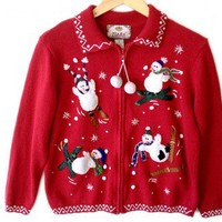 Shop Now! Ugly Sweaters: Clumsy Skiing Snowmen Tacky Ugly Christmas Sweater / Cardigan Women's Size Medium (M) $25 - The Ugly Sweater Shop