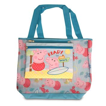 Peppa Pig Girl's Mesh Beach Tote with Removable Insulated Pouch (One Size, Blue) …