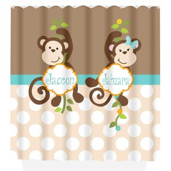 Monkey SHOWER CURTAIN, Personalized Kid Monkey Bathroom, Brother Sister Bath, Boy Girl Shared, Matching Bath Towel Plush Bath Mat