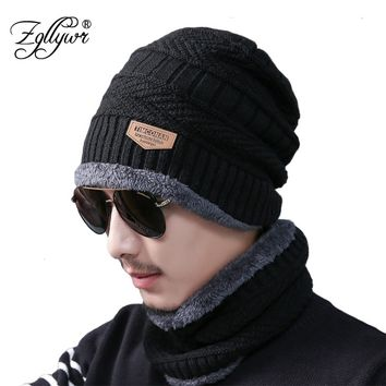 Zgllywr 2-Pieces Men Winter Knit Hat Circle Scarf with Fleece Lining Warm Snow Soft Lined Thick Ski Skull Cap