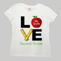 Second Grade Shirt Teacher Gift Ideas Back To School T Shirt 2nd Grade Shirt Custom Name Personalized TShirt Apple Mens Ladies - SA975