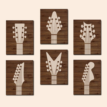 GUITAR Wall Art CANVAS or Prints Wood Effect Music Rock N Roll Wall Art Boy Bedroom Acoustic Guitar Instruments Set of 6