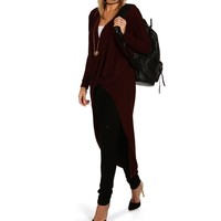 Promo-burgundy Surplice Duster Top