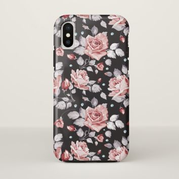Vintage Pink Floral Pattern iPhone X Case