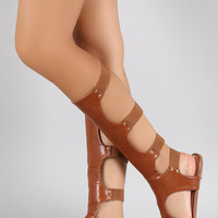 Liliana Studded Elastic Caged Gladiator Knee High Flat Sandal