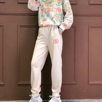 """""""Gucci"""" Woman's Leisure Fashion Letter Embroidery Flower Printing  Long Sleeve Tops Trousers Two-Piece Set Casual Wear"""
