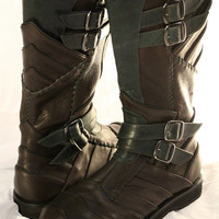 Mens Antique Brown and Hunter Green Ayyawear Vajra Moto Boots