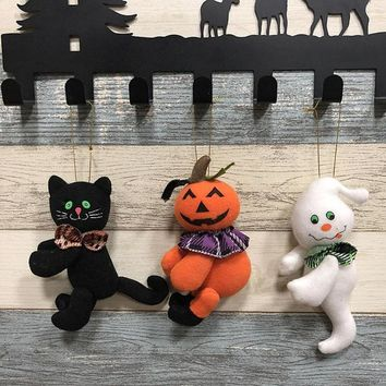 Halloween 3D Pumpkin Ghost Black Cat Shaped Hanging Props Garland Evening Party Ornaments Pendant Halloween Decoration Party