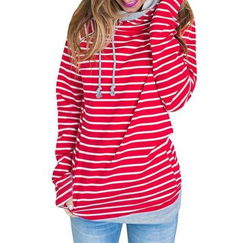 Hoodie Sweatshirt Women  Autumn Drawstring Hooded Hoodies Sweatshirts Harajuku Striped Jumper Tops Zipper Pullover 3XL