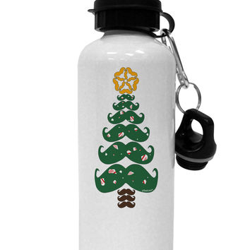 Mustache Christmas Tree Aluminum 600ml Water Bottle