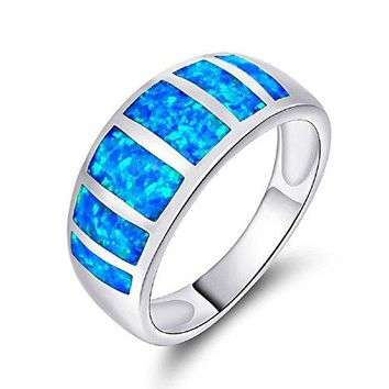 VOLUKA 18K White Gold Plated Promise Opal Rings for Men and Women Size 5  10 Inlaid 6pcs of Blue Opal