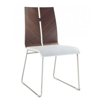 Lauren Dining Chair. Natural Walnut veneer White Eco Leather. Metal frame with brushed nickel finish (Set of 2)