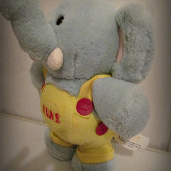 Vintage Dakin Golden Bear Book Sandvik Plush Elephant Bump Accident Character, Kids Plush Toy, Home Decor