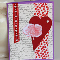 Heart And Poppy Greeting Card, Red and Purple Valentine's Day Card, Wedding Anniversary, Love Note, Heartfelt Valentine