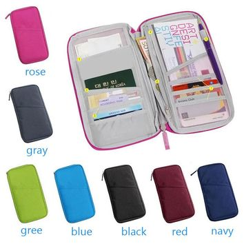 Wan Women Travel Passport Bag Credit ID Card Holders Cash Wallet Purse Documents Case Zipper Organizer Belt Unisex Popular