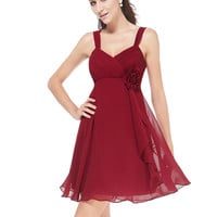 Silk Floral Bright Red Braces Short Dress