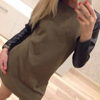 Stylish Round Neck Long Sleeve Spliced Color Block Dress