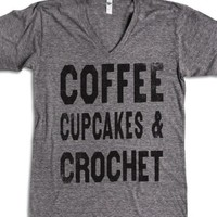 Coffee Cupcakes & Crochet (Vintage V Neck)-Athletic Grey T-Shirt