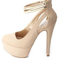 Gold-Plated Ankle Strap Platform Pumps by Charlotte Russe - Nude