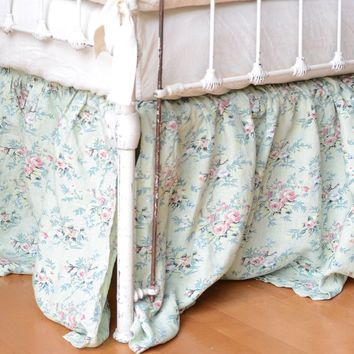 Betty Crib Skirt Dust Ruffle in MINT JULEP