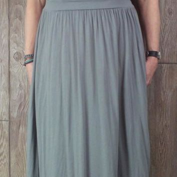 Nice Peruvian Connection Dress L M size Gray Soft Stretch Womens Drop Waist