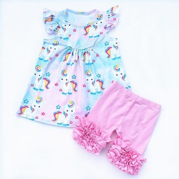 2018 Hot sale girls unicorn outfits milk silk top rainbow printed party set with ruffle cotton shorts